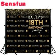 Виниловый фон для студийной фотосъемки Sensfun с эффектом боке 18 дней рождения Черное золото Дети День рождения на заказ 10x10 футов