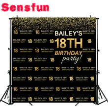 Sensfun Bokeh Happy 18 Birthday Black Gold Children Birthday Custom Photography Studio Backgrounds Backdrops Vinyl 10x10ft