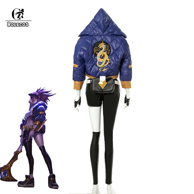 ROLECOS кДа Akali маскарадный костюм супергероини AKALI маскарадный костюм супергероини K/DA Для женщин наряд пальто брюки перчатки мешок Хэллоуин