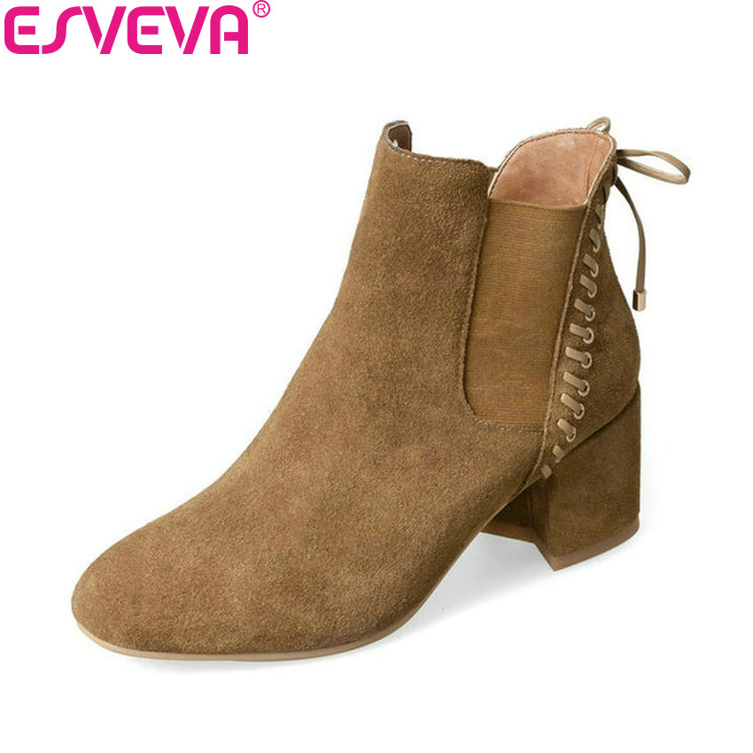 ESVEVA 2018 Women Boots Handmade Chunky Round Toe Short Plush Square High Heels Ankle Boots Fashion Ladies Boots Size 34-39 esveva 2018 women boots high heels short plush buckle ankle boots square heels chunky pointed toe sexy fashion shoes size 34 39