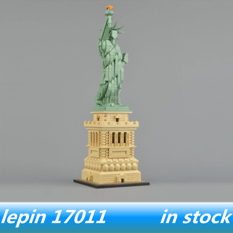 Lepin 17011 lepin Architecture Statue of Liberty Set Compatible legoing Statue of Liberty Set legoing 21042 Building Blocks Toys statue of liberty pattern protective plastic case for iphone 4 4s blue white