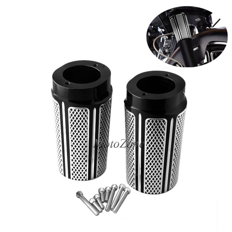 Motorcycle Black Front Fork Boot Slider Cover Compatibility For Harley Touring Electra Glide Road King Street Glide 2014-2016Motorcycle Black Front Fork Boot Slider Cover Compatibility For Harley Touring Electra Glide Road King Street Glide 2014-2016