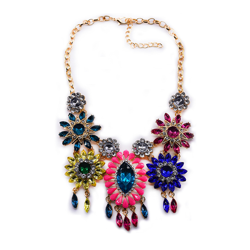 New Fashion Charm Jewelry Colorful Rhinestone Flow...