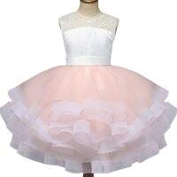 Pretty bowtie Satin Flower Girls Dresses white & black Lace 2018 Beaded Appliqued Dresses For Girls Kids Prom Dresses girls