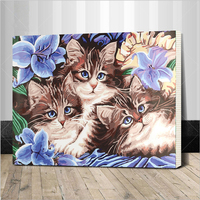 Framed Diy Oil Painting By Numbers Canvas Cat Picture Adult Coloring Paint Acrylic Painting Calligraphy By