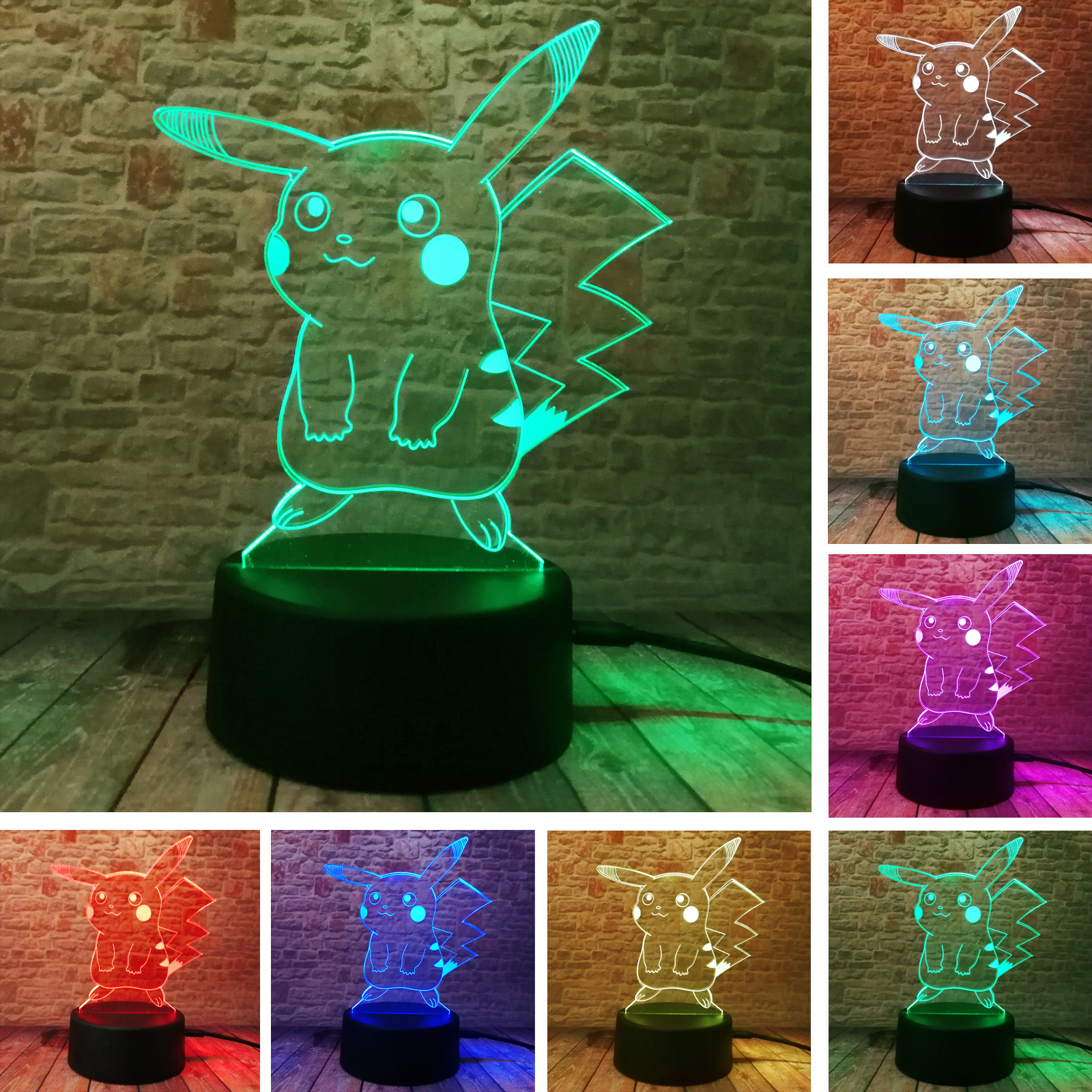 Hot Pokemon Go Action Figure 3D Atmosphere Illusion Night Light Pikachu Bedroom Kids Gift Creative 3D Illusion Lamp Drop Shippng