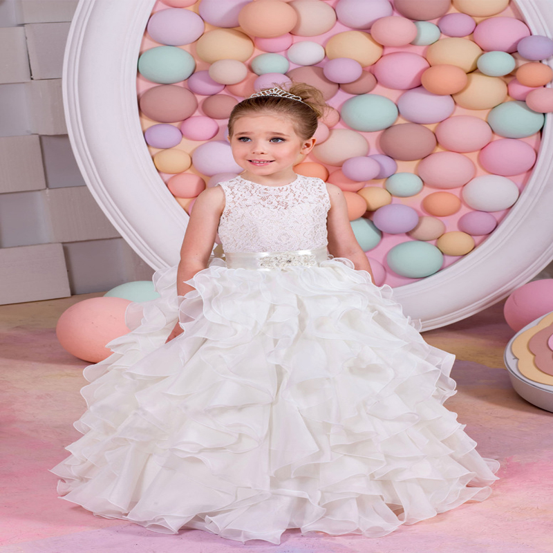 2017 New Ritzee Girl Pageant Dresses Sleeveless Ruched O-Neck Ball Gown Lace Up Flower Girl Gowns Voile Mother Daughter Dresses цены