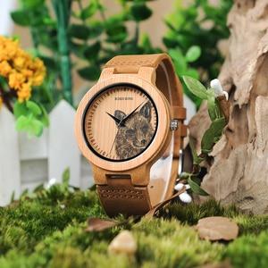 Image 3 - Мужские бамбуковые часы BOBO BIRD, специальные дизайнерские реалистичные деревянные наручные часы с УФ принтом и циферблатом, часы для мужчин, подарок