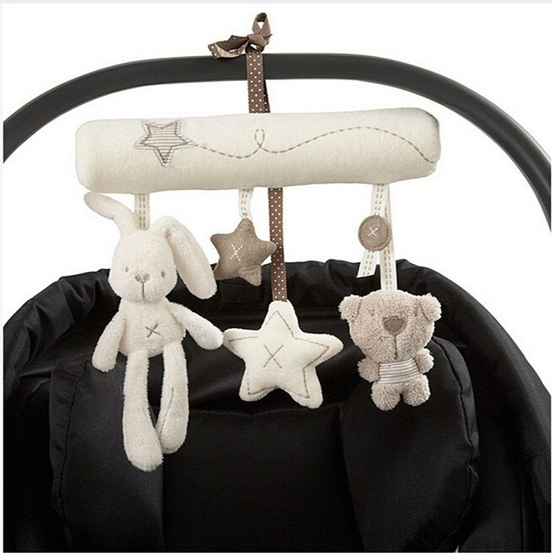 Baby Crib Rattles Plush Toys Soft Rabbit Rattles Pram Rattle Toys Hanging Rattle For Stroller Newborn Bed Pendant Bell Toy