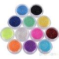12 Цветов Nail Art Decoration Металлический Порошок Блеск Пыли Комплект Для УФ-Гель Акриловые 7LCK