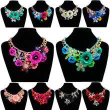 2017 Luxury Beautiful Maxi wedding Necklace Colorful Enamel Rhinestone Hand knitting Flower Big Choker Necklace Boho Jewelry