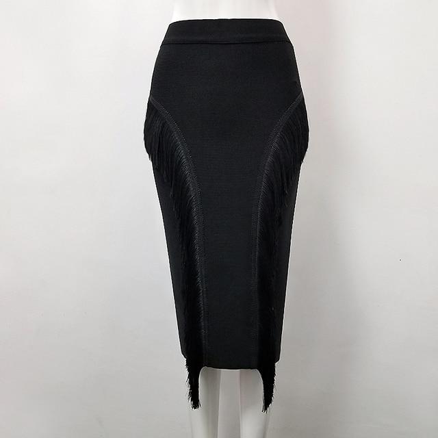 High Quality Sexy Tassel Knee Length Bandage Skirt 2018 Knitted Sweet Designer Pencil Skirt