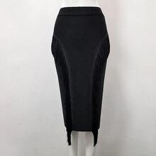 Wysokiej jakości Sexy Tassel kolana długość bandaża spódnica 2018 z dzianiny słodkie projektant spódnica ołówkowa