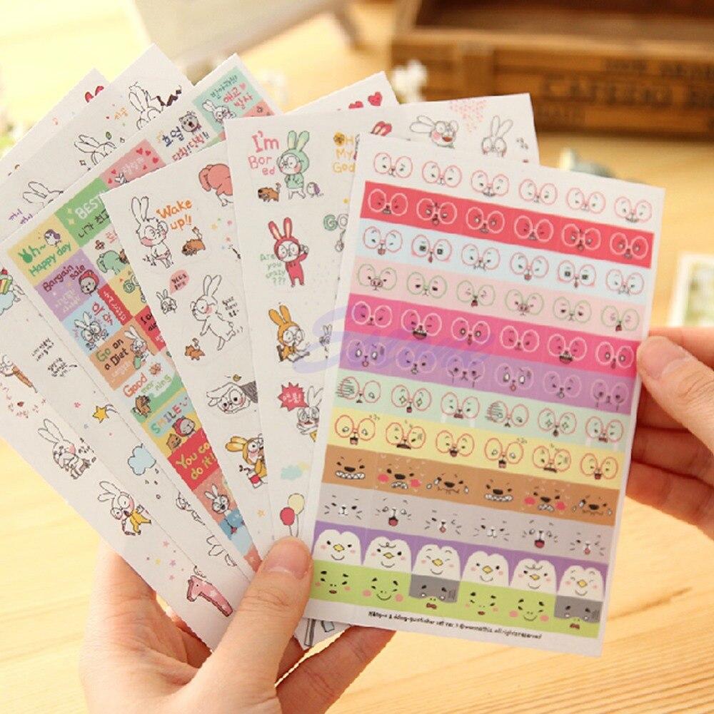 Scrapbook paper books - 6 Sheets Book Sticker Rabbit Diary Scrapbook Calendar Notebook Label Decoration China Mainland