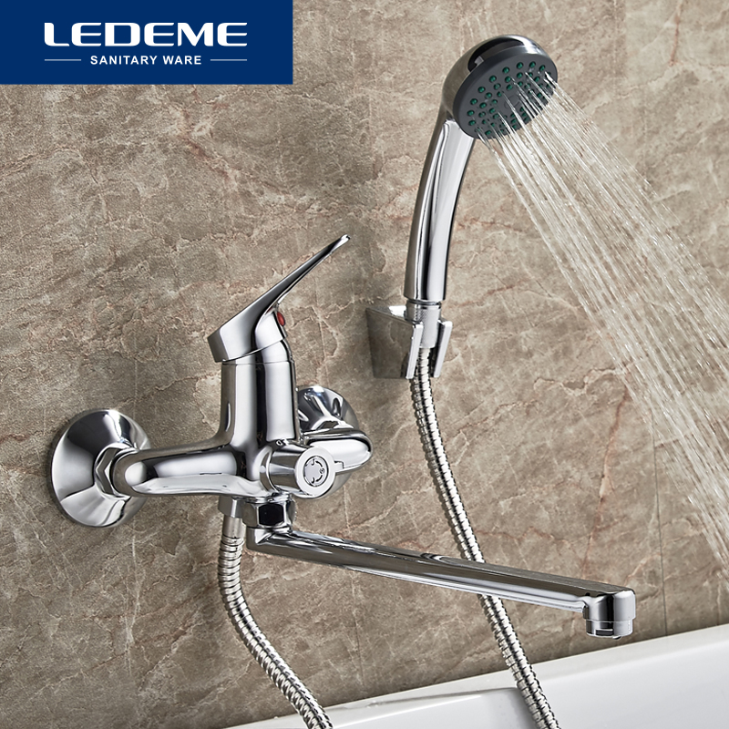 LEDEME Bath Shower Faucet set Chrome Plated Outlet Pipe Bathroom Shower Faucets Surface Brass inside Faucets