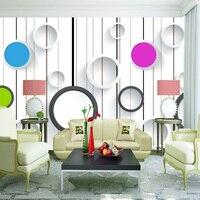 Color Circle Wood Board Deep Embossed 3D Brick Wall Paper Vintage Pattern Paper Wallpaper Roll Livingroom