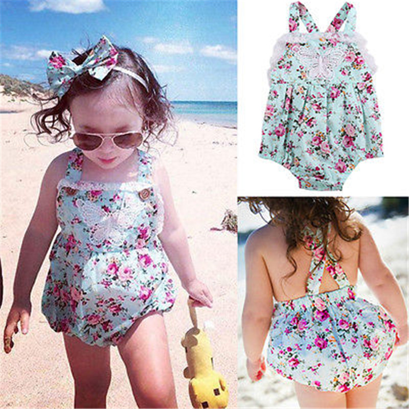 2016 Polka Dot Princess Baby Girl Clothes Lace Floral font b Bodysuit b font Backless