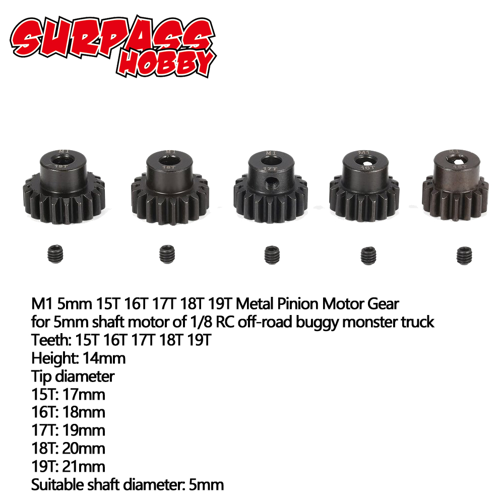 SURPASS HOBBY 5Pcs M1 5mm 11T-15T/15T-19T/18T-22T/ Metal Pinion Motor Gear Set For 1/8 RC Car Truck Brushed Brushless Motor