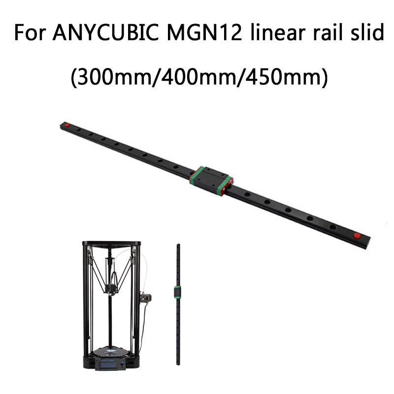 Rail Slide linéaire 3D imprimante Delta Kossel MGN12H 300/400/450mm Linéaire Guide pour ANYCUBIC 3d imprimante X Y Z axe pièces