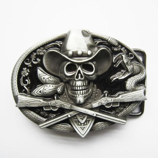 Retail Distribute Hebilla De Metal Para Cinturon Revolvers Y Calavera  Belt Buckle BUCKLE-SK036 Free Shipping
