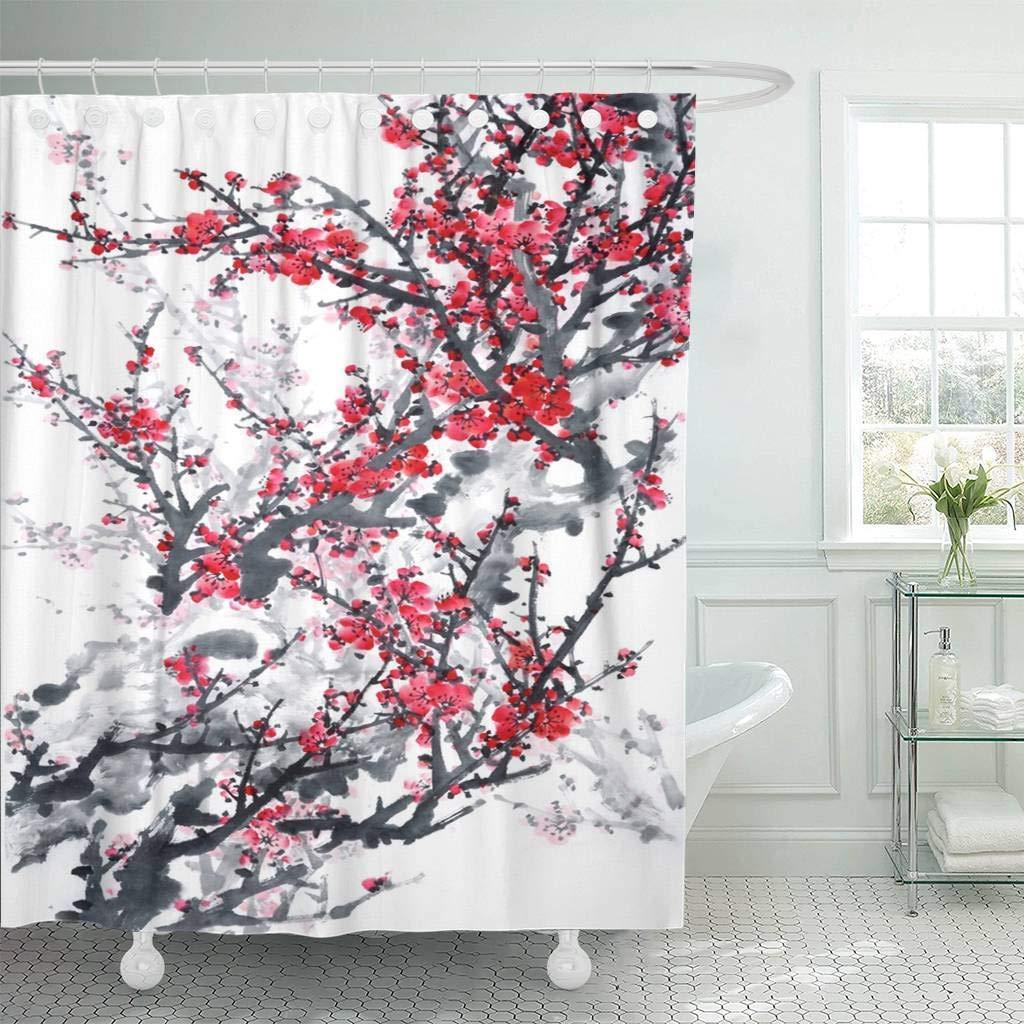 Fabric Shower Curtain Hooks Pink Japanese Plum Blossom On