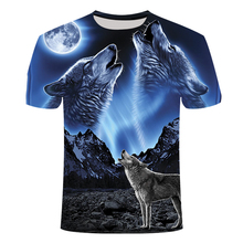 2019 New 3D Wolf Head Cool Mens T-Shirt Funny animal fashion unisex casual t-shirt Summer street quick-drying