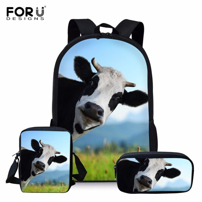 FORUDESIGNS Cool Cow Children School Bags For Teenagers Boys Girls Big Capacity School Backpack Satchel Kids Book Bag Mochila