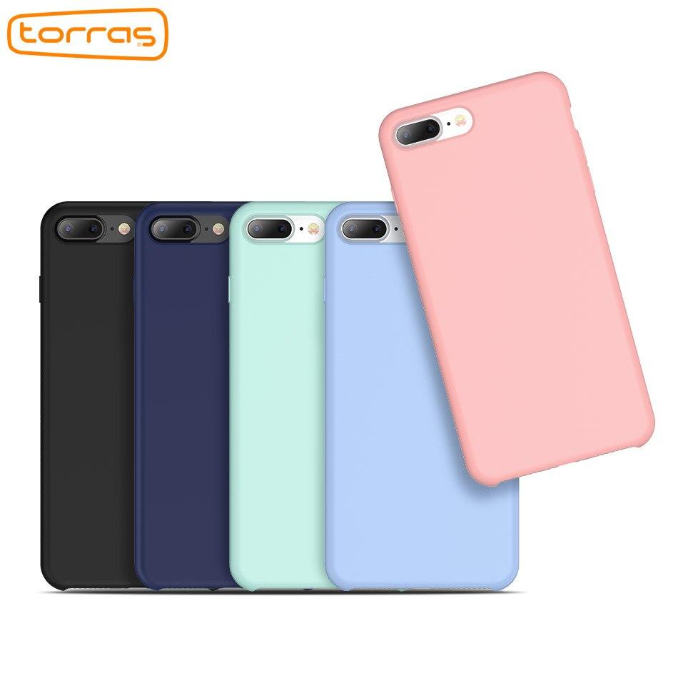 TORRAS Luxus Telefon Fall für iPhone 7 8 Original Flüssigkeit Silikon Fall Stoßfest Schutzhülle Abdeckung Fall für iPhone 8 8 Plus