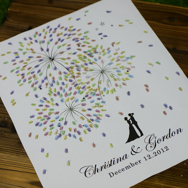 Personalized Fingerprint Wedding Guest Book Fireworks Theme Thumb ...