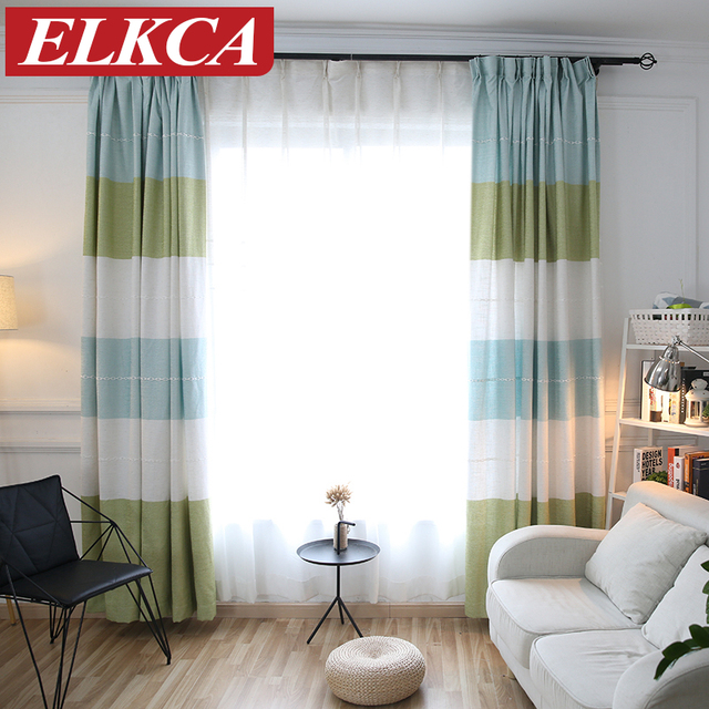 Japan Style Colorful Horizontal Striped Curtain For Living Room Thick Jacquard Faux Linen Curtains Bedroom