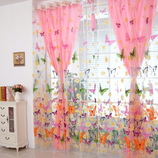 270cmx100cm  200cm x 100 cm Butterfly Print Sheer Window Panel Curtains Room Divider New for Living Room Bedroom Curtain