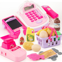 Simulation supermarket sound and light cash register machine card scanning cashier baby pretend play toy Kids gift