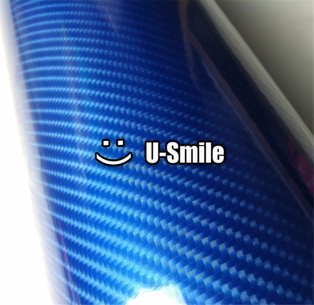 Premium Gloss Crystyle Blue 5D Carbon Fiber Vinyl Blue 5D Carbon Fibre Film Roll Car Wrapping Bubble Free Size:1.52X20M/Roll high quality apple green carbon fiber film vinyl car sticker for car wrapping with air bubble free fedex free shipping 30m roll