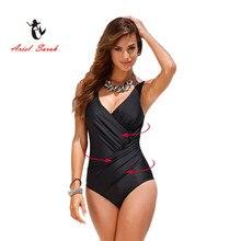 2016 One Piece Swimsuit Brazilian Bikini Set Sexy High Waist Beachwear Plus Size Swimwear Women Black