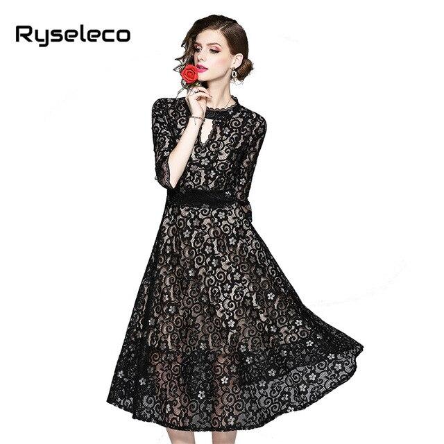 106c58f7e4 2019 Plus size Fall Women Evening Party Lace Dresses Hollow Out Floral  Crochet Lace Up Back