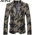 2016 Spring Floral Blazers Men Fashion Casual Costume Homme Woolen Printed Suit Blazers T0005