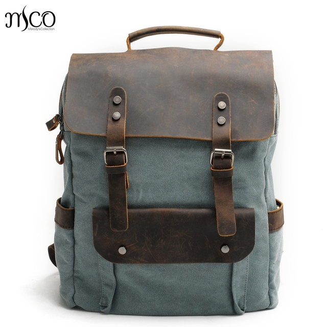 3e0fc0299d58 Men Women Vintage Canvas Retro rucksack backpack Laptop Military Oilskin Leather  Shoulder Travel Bag Personalised Schoolbag