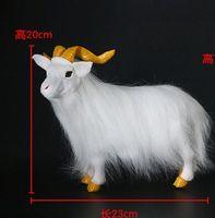 large 23x20cm white sheep model,polyethylene&furry furs goat handicraft Figurines home decoration toy gift a2608
