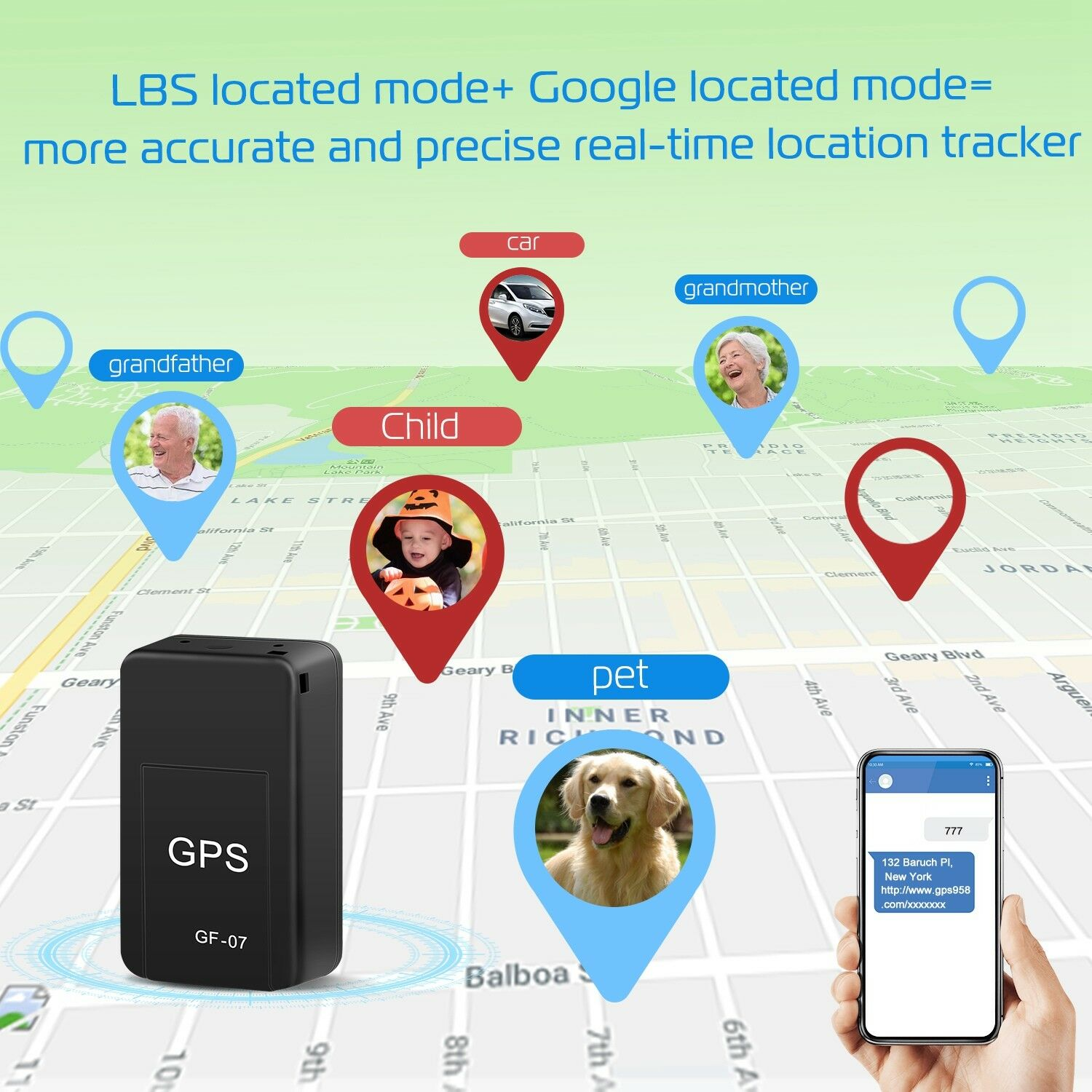 GF07 Magnetic Mini Car GPS Tracker GSM GPRS Locator Real Time Tracking  Locator Device For Vehicle/Car/Person Location Tracker