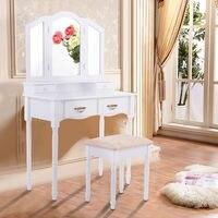 Giantex White Tri Folding Mirror Vanity Table Stool Set Modern Makeup Dressing Desk With 4 Drawers