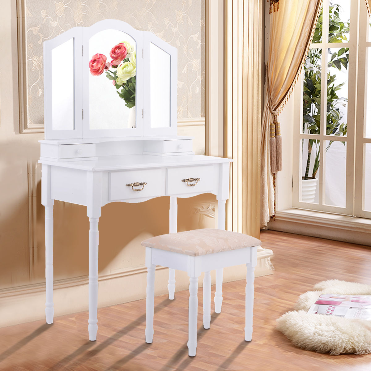 Giantex White Tri Folding Mirror Vanity Table Stool Set Modern Makeup Dressing Desk with 4 Drawers Wood Dressers HW54073WH ship from germany makeup dressing table with stool 7 drawers adjustable mirrors bedroom baroque style