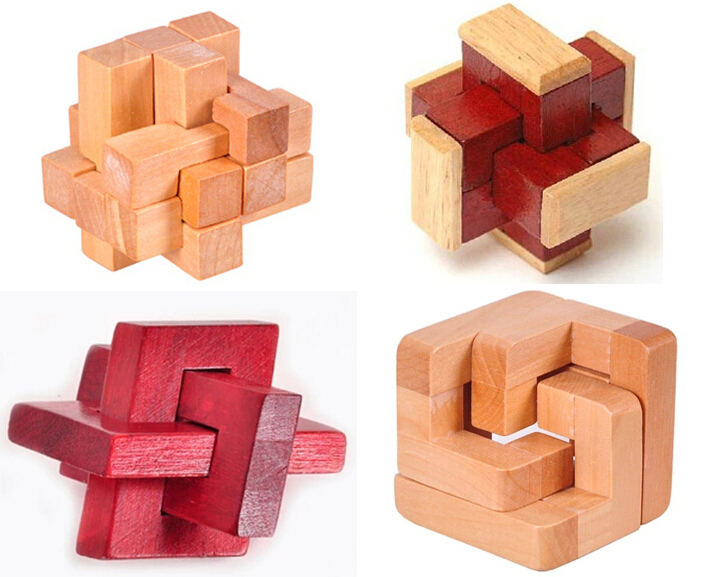 4PCS/LOT Classic 3D Wooden Puzzle IQ Interlocking Burr Puzzles Brain Teaser Game for Adults Children Kids ...