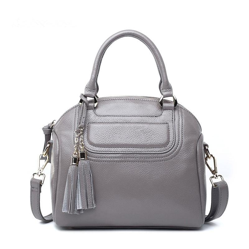100% Genuine Leather Woman Bags 2017 Bag Handbag Fashion Handbags Tassel Shell Hand bag Women Free Shipping