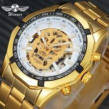 ПОБЕДИТЕЛЬ Мужские часы топ бренда Luxury Auto Механические часы золотой Нержавеющаясталь ремень Череп Скелет циферблат модные наручные часы