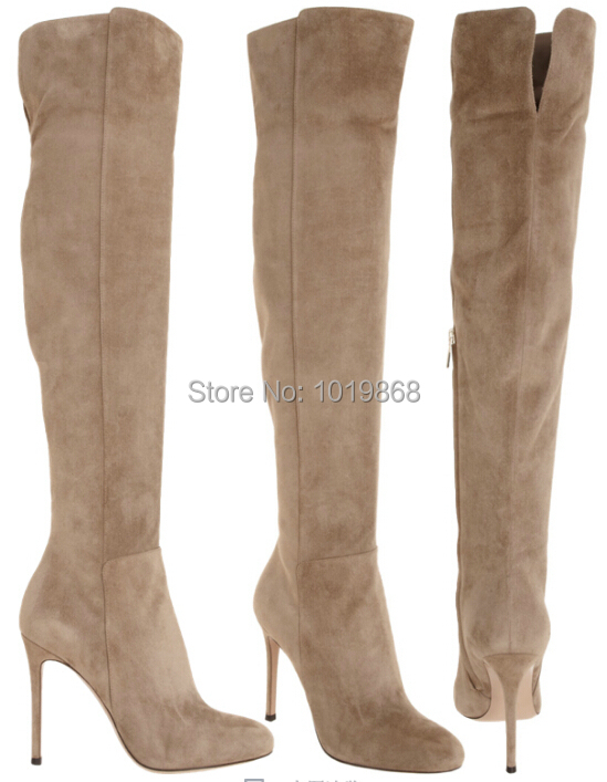 ONSALE suede women knee boot black tan high heel women tall boot ...