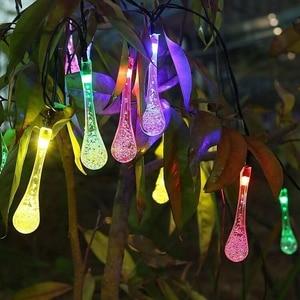 Image 5 - 7 m 50led luz de fadas led solar powered gota de água luzes da corda festa de natal casamento festival ao ar livre indoor decotion