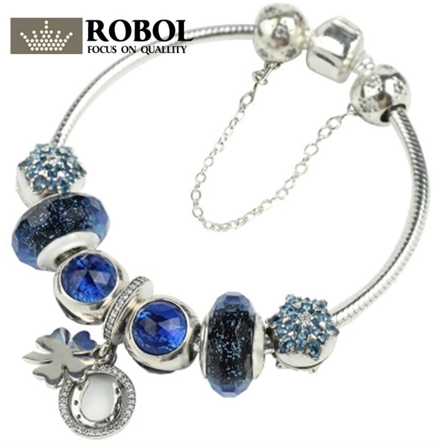 ROBOL 100% 925 Sterling Silver Brand New 1:1 Genuine Glamorous Ocean Heart Bracelet Set Snowflake Starry Night Themed Bracelet shure a27sm