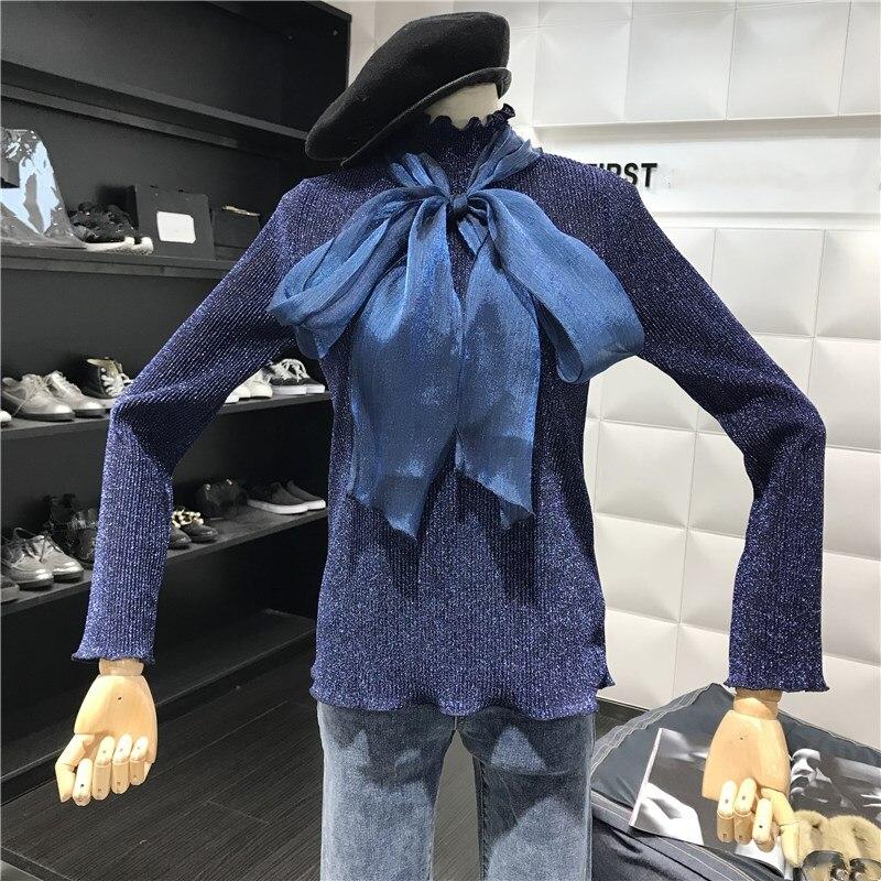 grey Donne Stile Coreano Arco Inverno Grande Delle Modo Grigio Navy Pullover Lucido Autunno blu Maglioni Maglione Streetwear Scuro Maglie Di 2018 E qw8XUAPxYn