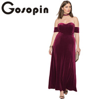 Gosopin Maxi Sexy Dress Plus Size Summer Spring Strapless Party Dresses Sweetheart Bandeau Off Shoulder Velvet Gown LC611007