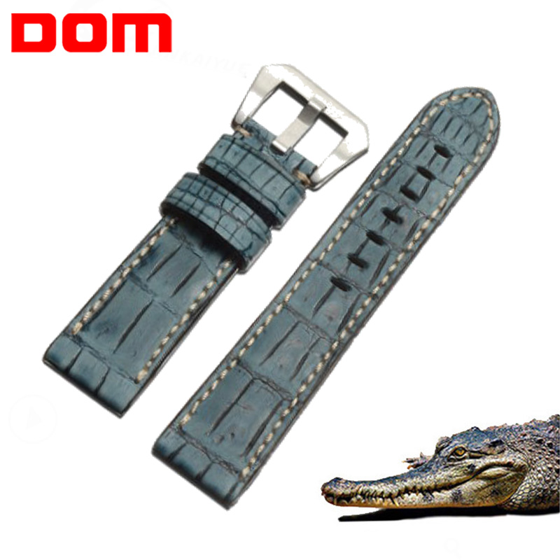 DOM Crocodile Genuine Leather Strap Watch Band for Men Watchband 22 24 26mm Watch Strap Alligator Leather Watch Belt Blue